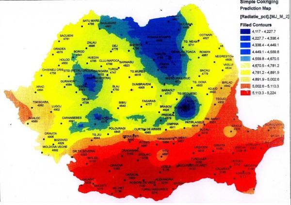 Harta potentialului solar in Romania